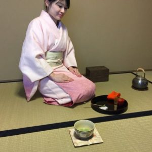 Japanese tea on the old cloth