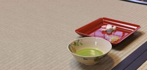 powdered green tea and sweets