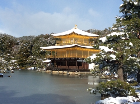 Golden Pavilion (Kinkakuji temple) with snow!