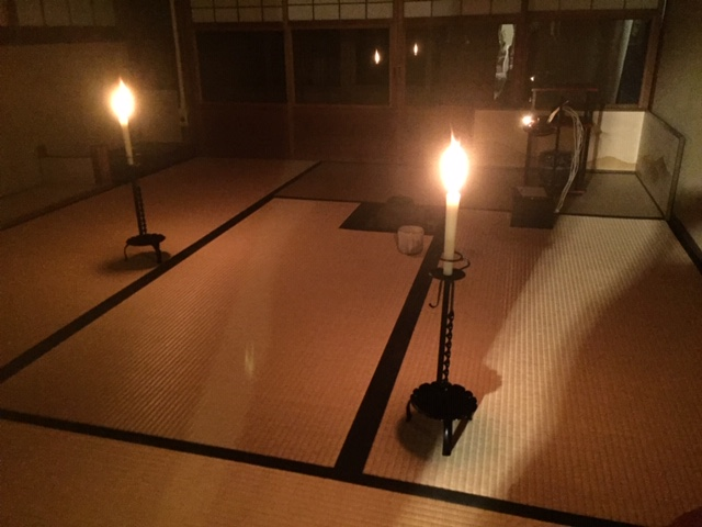 tea ceremony at night in Kyoto