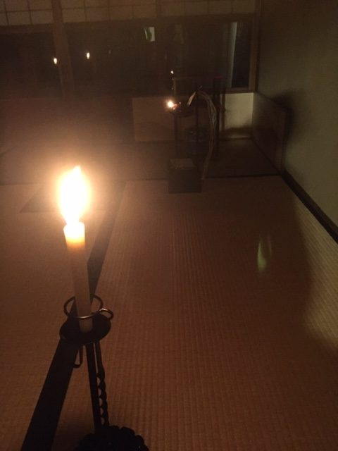 tea ceremony in Kyoto at night