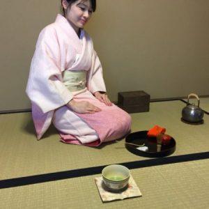 Japanese tea on the old cloth