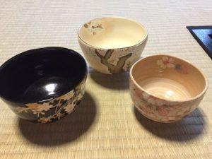 sakura tea bowls